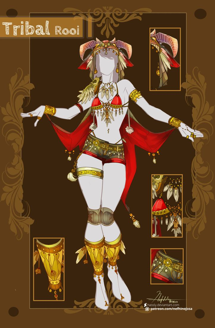 CLOSED Adoptable Outfit Auction: Tribal/Rooi by Hassly.deviantart.com on @DeviantArt