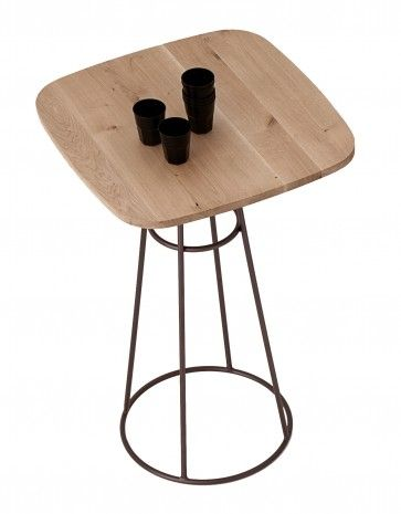 DomItalia Barrique Bar Table With Bronze Base And Wild Oak Top