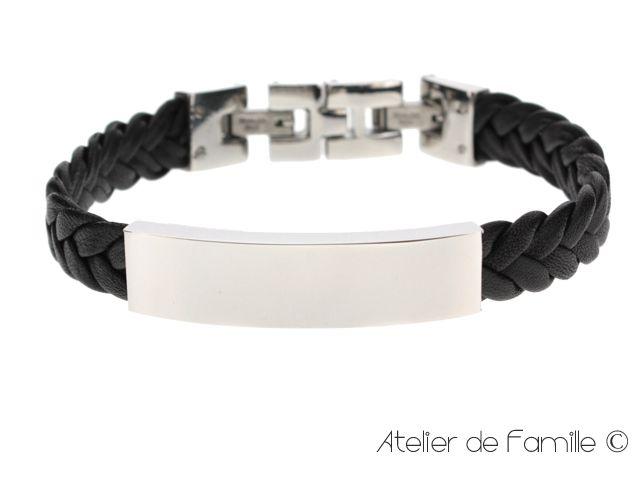 Bracelet cuir tressé et plaque acier, gravure joaillier, pour homme.