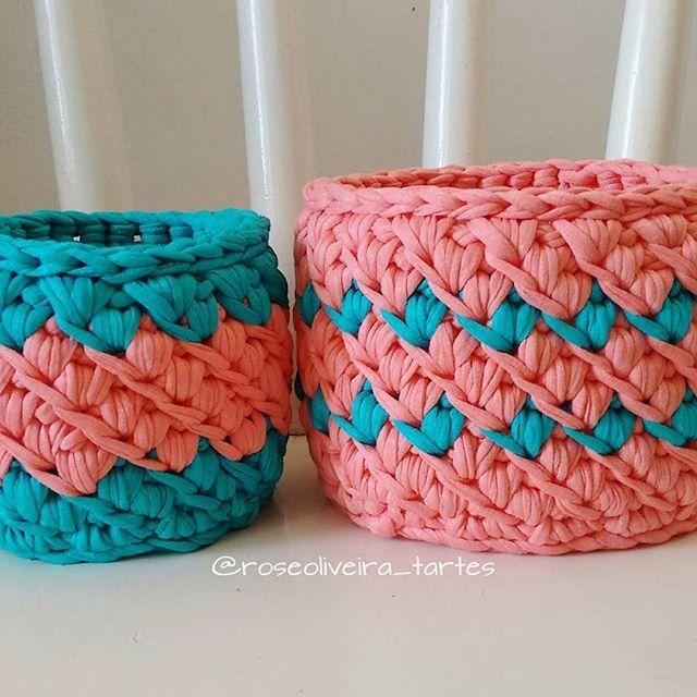 Kit de cestinhos lindos, para organizar e decorar  #fiosdemalha #crochet #cestos #basket