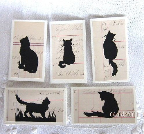 5 Cat Silhouette Enclosure Cards on Antique Ledger by MagpieJane