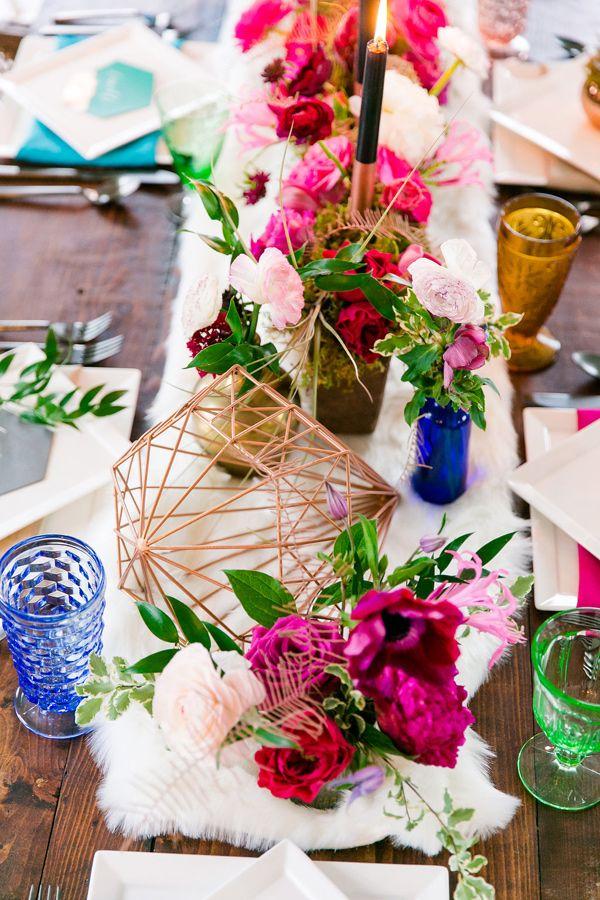 bright geometric reception - http://ruffledblog.com/modern-industrial-winter-wedding-inspiration