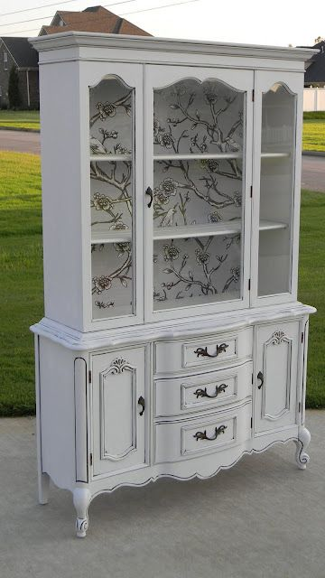 Love the interior treatment on this vintage china cabinet!                                                                                                                                                                                 More