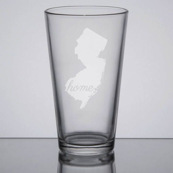 New Jersey Pint Glass, State Pint Glass, 16 oz Beer Glass, Home State Glass, Etched Pint Glass, Sandblasted Glass by GrayFoxTradingCo on Etsy