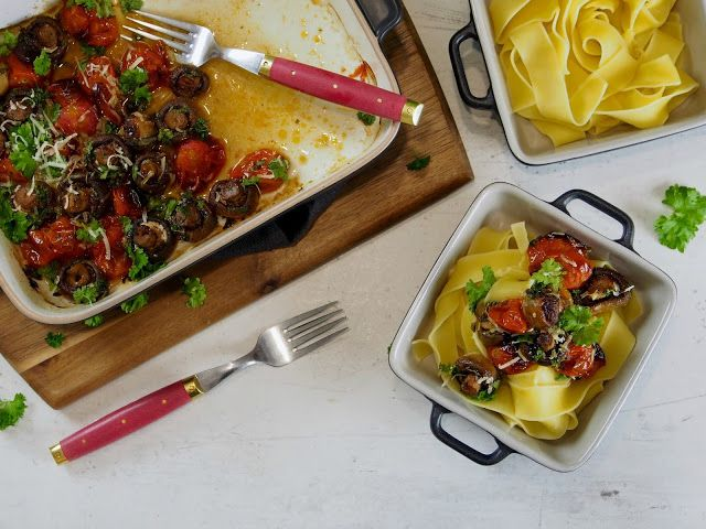 Peggyn pieni punainen keittiö: Paahdetut herkkusienet Välimeren twistillä |K-Ruoka #blogiyhteistyö