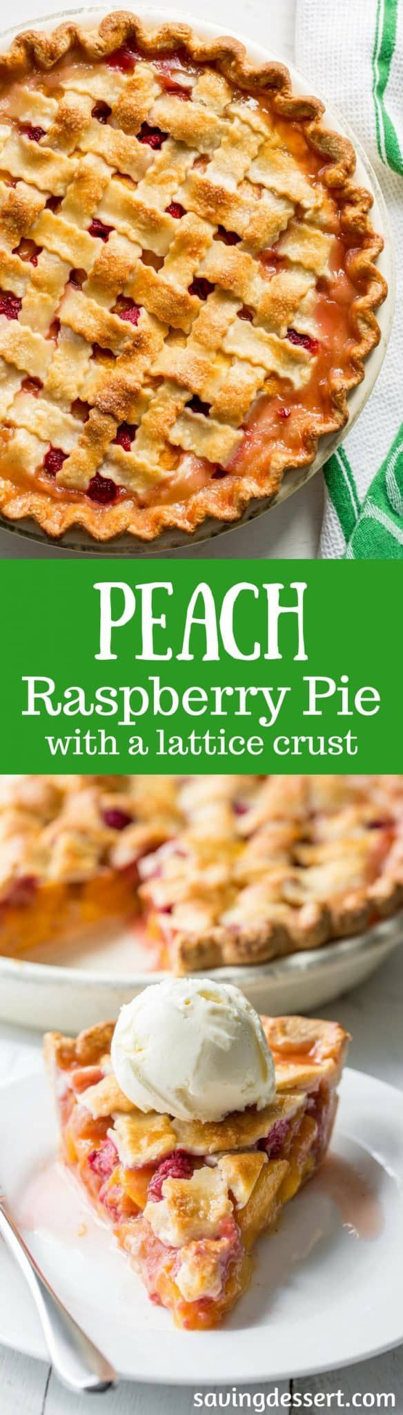 Peach Raspberry Pie with a Lattice Crust ~ juicy, sweet summer peaches are combined with tart raspberries for a wonderful seasonal dessert.  Topped with a flaky, pretty, lattice weaved crust, this pie is a family favorite! www.savingdessert.com #savingroomfordessert #pie #peachpie #raspberrypie #latticecrust #dessert