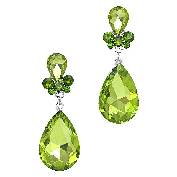 Lime green teardrop earrings. Available in other colours from WWW.GlitzyGlamour.co.uk