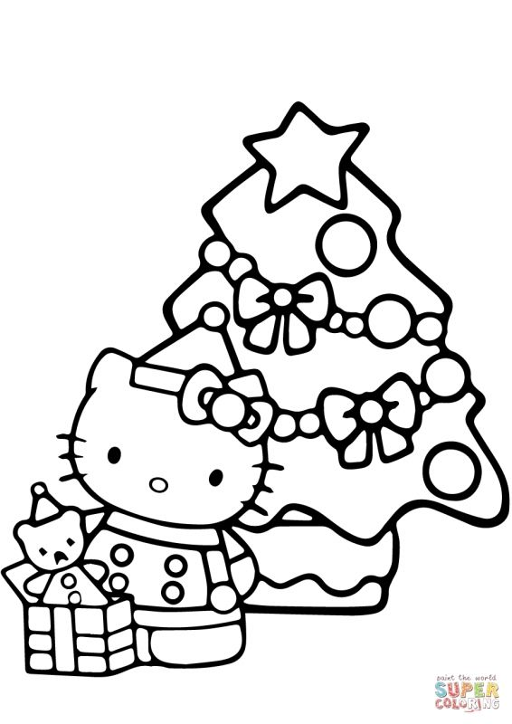 Hello Kitty Christmas Coloring Page Free Printable Coloring Pages Christmas Pictures To Color Christmaspicturestocolorandprint C With Images Hello Kitty Colouring Pages