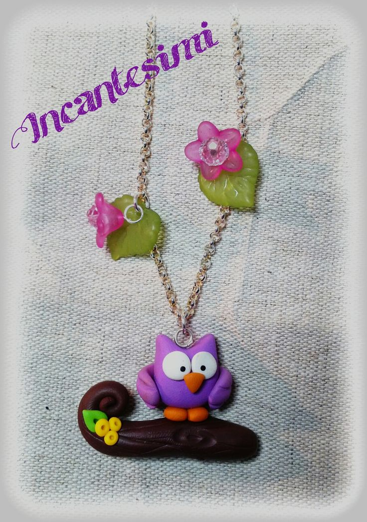 Collana con gufetto #fimo #polymerclay #owl https://it-it.facebook.com/Incantesimi