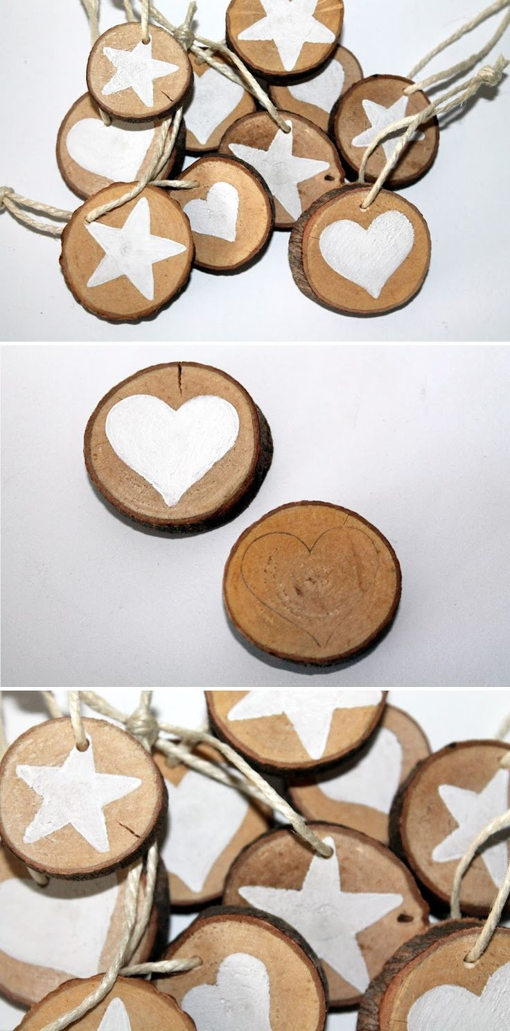 DIY wooden discs star and heart