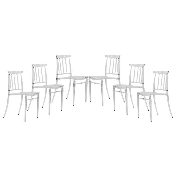 LeisureMod Norco Clear Transparent Plastic Dining Chair (Set Of 6) (Norco  Clear Transparent