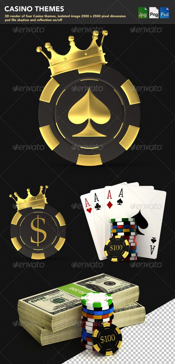 Casino Themes, it presents 3D render of 4 casino templates, isolated image 2500×2500 pixels, PSD file shadow and reflection on/off.