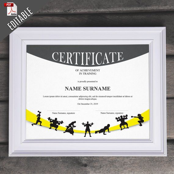 Crossfit Editable Certificate Template Editable Gym Diploma