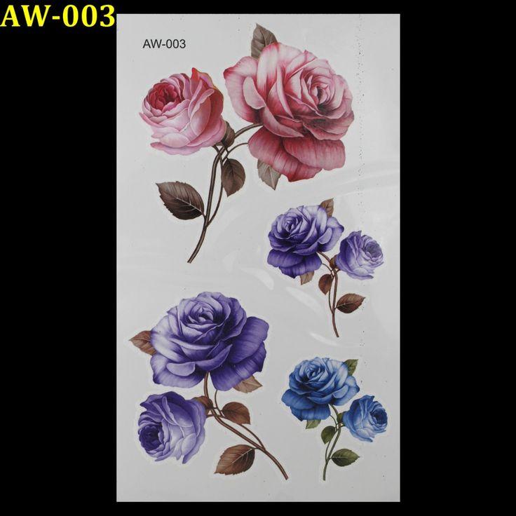 TONGMENG-AW-003-3d-tattoo-Flash-tatoeages-vrouwen-arm-tijdelijke-tattoo-Roze-blauw-rose-body-art.jpg 1.000×1.000 pixels