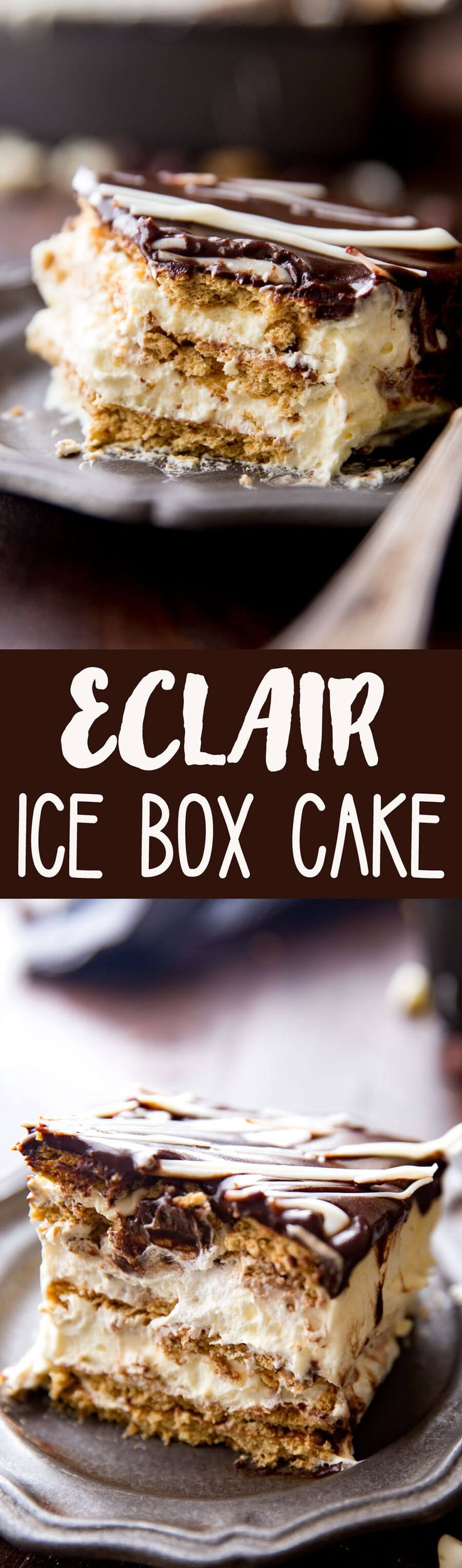 Simple Eclair Ice Box Cake: No baking, no fuss, this easy ice box cake is absolutely delicious and just so fun. Rich chocolate topping, fun vanilla custardy center, and graham crackers. It tastes like an eclair in cake form! And is way easier than baking eclairs. You guys I am always looking for super duper...Read More »