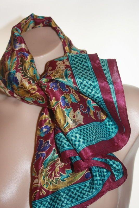 Vintage Georgiou Gold Floral Purple Print Silk Scarf 35
