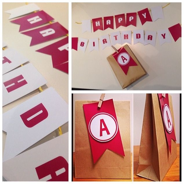 birthday bunting and matching gift wrap