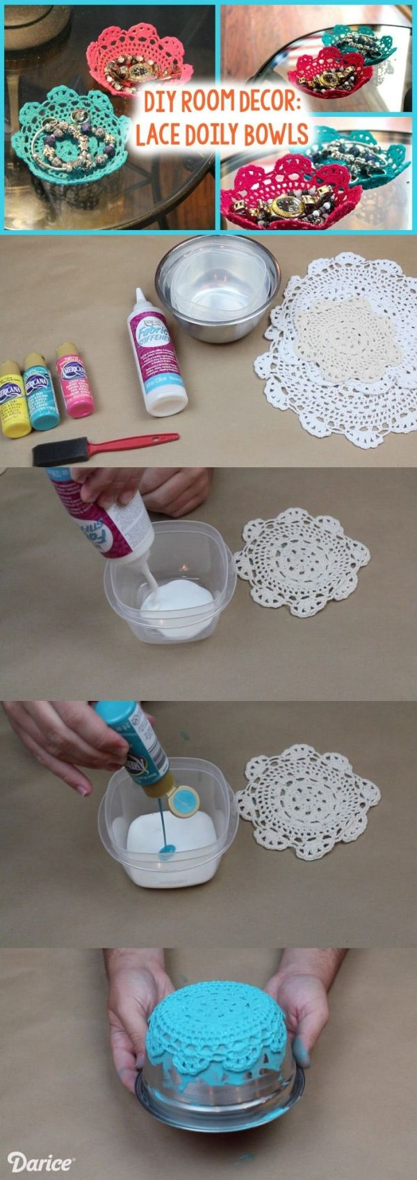 Colorful DIY Lace Doily Bowl Tutorial by delores