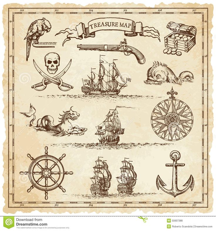 pirate-vintage-map-illustration-elements-collection-very-high-detail-ornaments-designed-to-illustrate-treasure-maps-55607388.jpg (1300×1390)