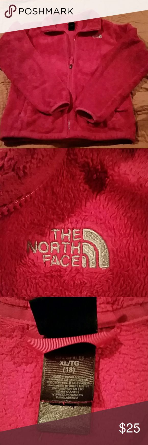Kids North Face fleece Pink north face fleece size 18 kids, w/plenty of wear left.  No rips tears or stains.  Smoke free home. North Face Jackets & Coats