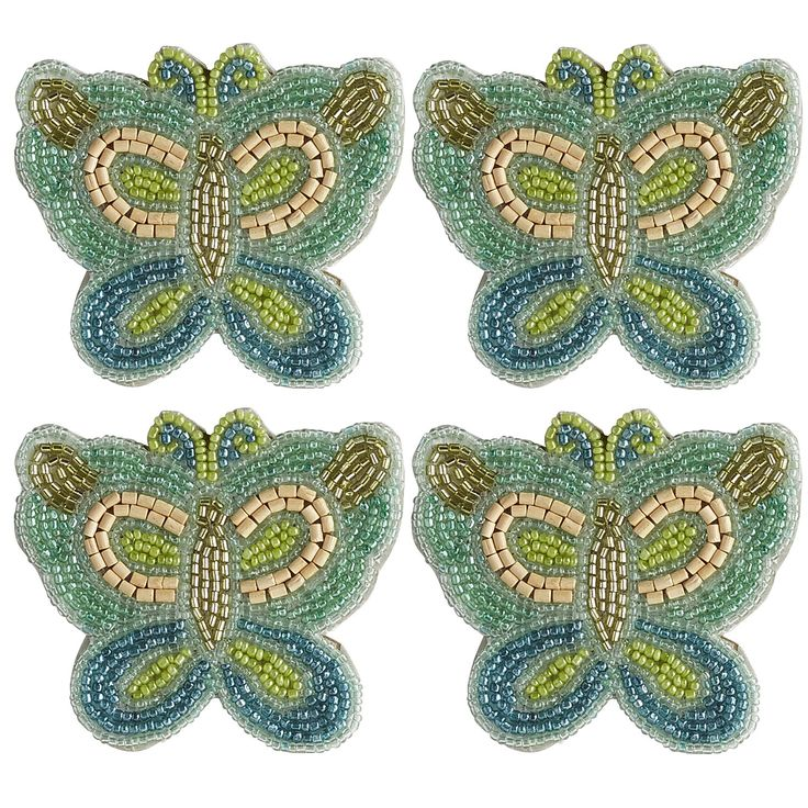 Butterfly Beaded Coaster Set
