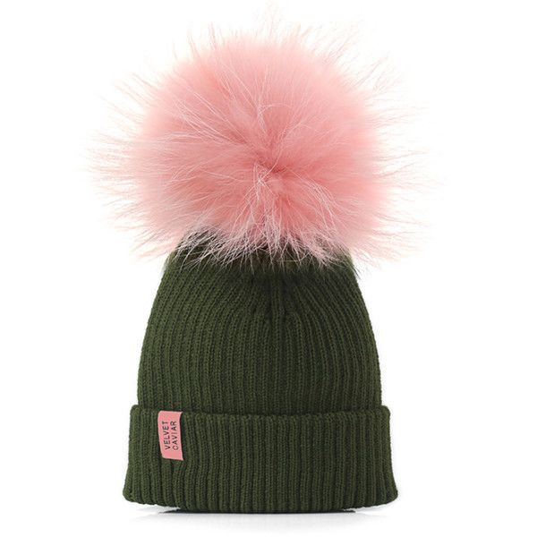 Lux Watermelon Fur Pom Beanie (£37) ❤ liked on Polyvore featuring accessories, hats, pom beanie, fur beanie, fur pom pom hat, beanie cap and fur hat
