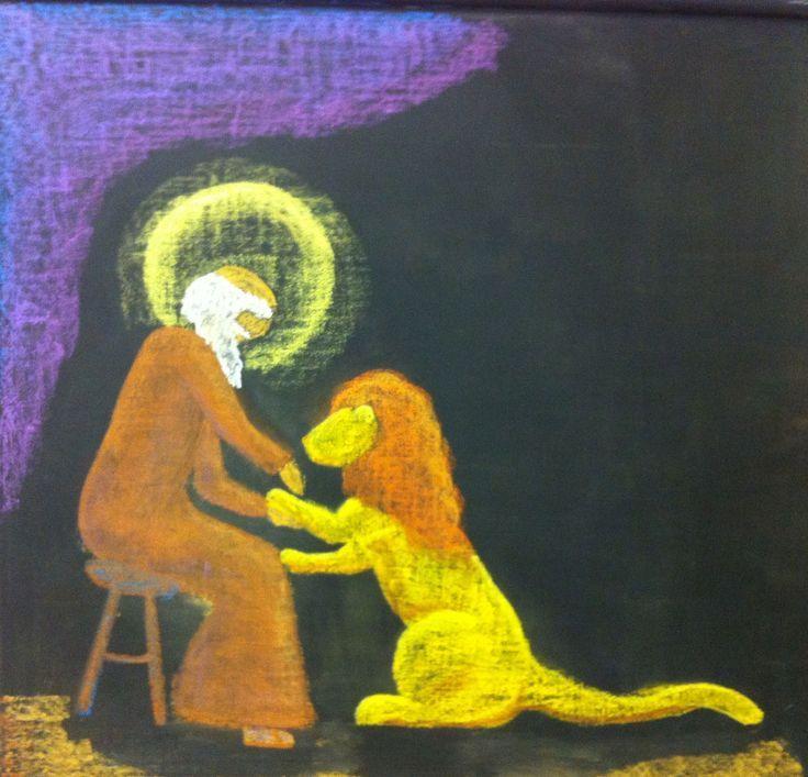 waldorf chalkboard drawing st. jerome - Google Search