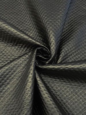 New Arrival! Black Faux Leather with Dimple Dots - NY Designer - 55W