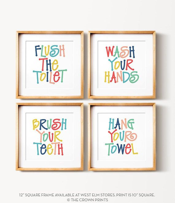 11 90 Etsy Instant Download Kids Bathroom Art Set Printable Art Flush The Toilet Wash Your Hands Brush Your Teeth Colorfu Kids Bathroom Art Bathroom Wall Art Bathroom Kids