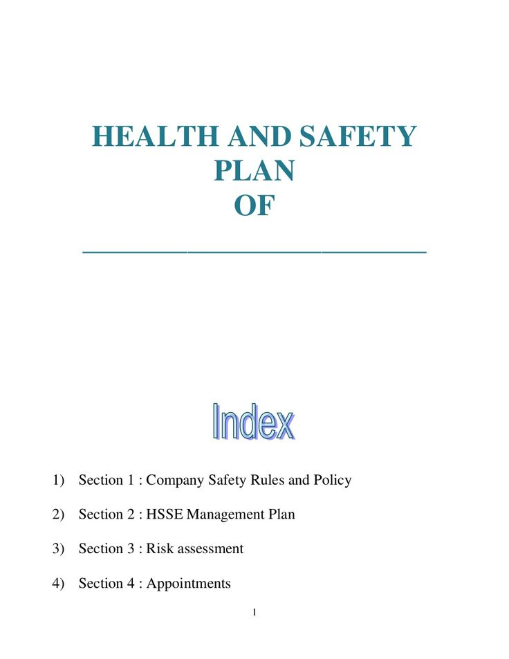 Health and safety plan generic health and safety Pinterest - health and safety policy