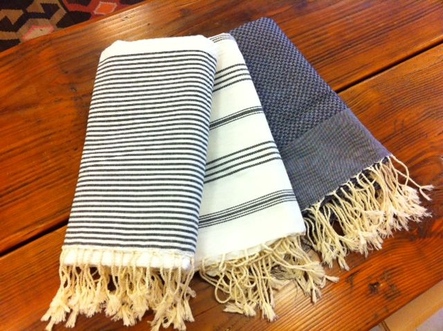 """These handwoven cotton towels are a Much favourite, not just for their good looks but also because of their versatility and practicality. They're 100% cotton and perfect to travel with because they don't take up much space. Traditionally used in Turkish baths, they also make wonderful beach blankets, tablecloths, runners, lightweight throws, shawls, sarongs, impromptu picnic blankets …. okay, we think you get the point! Hammam towels measure 38"""" x 78""""."""