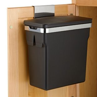 simplehuman® In-Cabinet Trash Can Now you see it. No you don't. Our In-Cabinet Trash Can by simplehuman® is designed to hang on the inside of a cabinet door, keeping your trash can hidden from view. It can also be mounted to the door using the included hardware. And you love that it's sized to use plastic grocery bags. It's ideal for kitchens or bathrooms! How do we measure? Made with steel frame with removable plastic bucket 2.6 gallon capacity Flip-up lid Container Store $29.99
