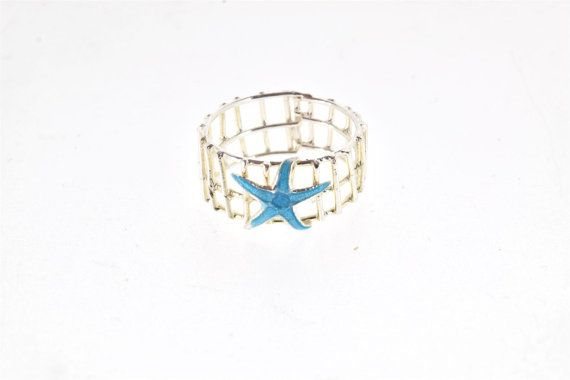 Beach Wedding Jewelry, Beach Bridesmaid Gift, Starfish Ring, Blue Enamel Ring, Enamel Jewelry, Summer Ring, Sea Star Ring, Mermaid Jewelry,