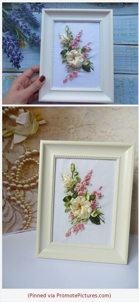 Embroidered Flower 3d Wall Art Ribbon Embroidery Art Framed Hand Embroidery Bouquet Miniature Ivory R Etsy Crafts Handmade Gifts Embroidery Art Etsy Embroidery