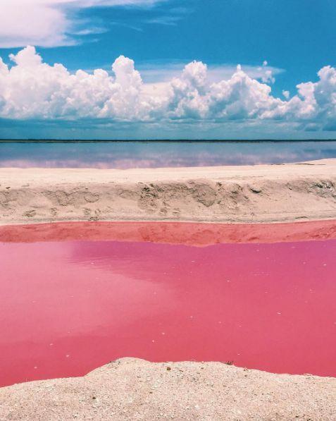 El agua es tan salada que puedes acostarte, flotar y simplemente disfrutar.   Esta playa rosa es el lugar más bonito de todo México