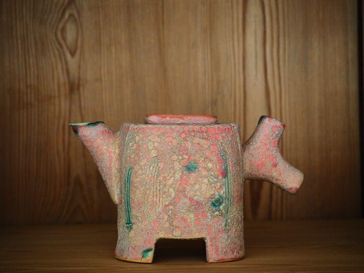 "HelleBovbjerg  tiny teapot with ""bollard"" handle"