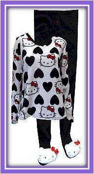 Our softest pjs ever! These plush pajama sets feature everyone's favorite Kitty. The footie pajama bottoms have gripper bottoms with polyester-filled Hello Kitty head toe-warmers complete with a sequined bow and are slightly elasticized at the back of the ankle. Junior cut in women's sizes S-XL. Machine wash.