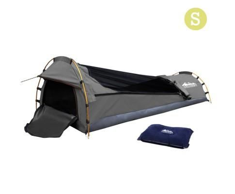 Single Biker Camping Canvas Swag - Grey FREE AIR PILLOW  * FREE shipping in Aus