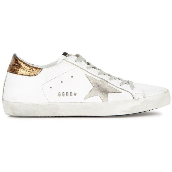Golden Goose Deluxe Brand Superstar White Distressed Leather Trainers... (€350) ❤ liked on Polyvore featuring shoes, sneakers, star sneakers, round cap, perforated shoes, golden goose shoes and round toe sneakers