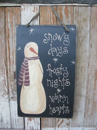 Primitive Snowy Days Snowman Hand Painted Wooden Sign