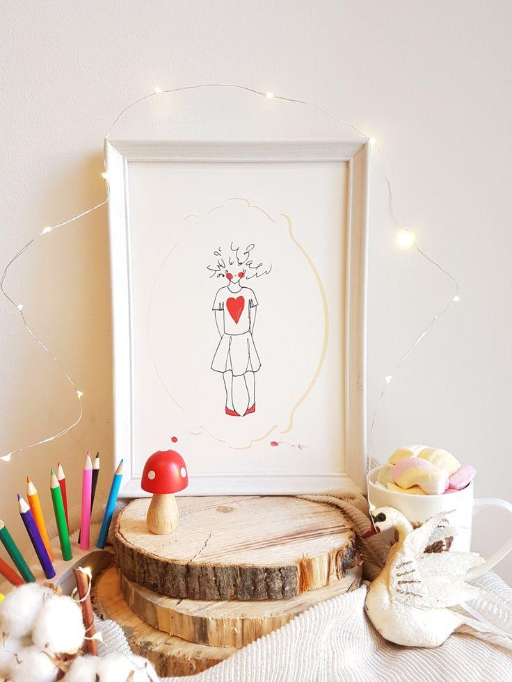 Art Prints, illustration, Gift, Wall Art, Curly girl, A4, Tamara Sturm illustration di TamaraSturm su Etsy