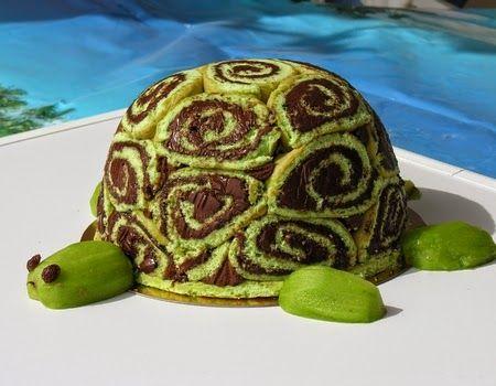 Gâteau anniversaire tortue gâteau roulé