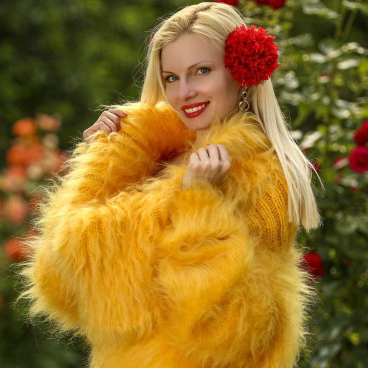 100% hand knitted fuzzy mohair sweater dress in yellow, size S, M, L, XL