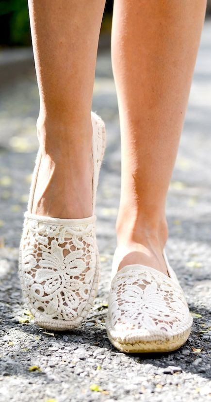 Tory Burch White Spanish Lace Espadrilles by Katie's Bliss