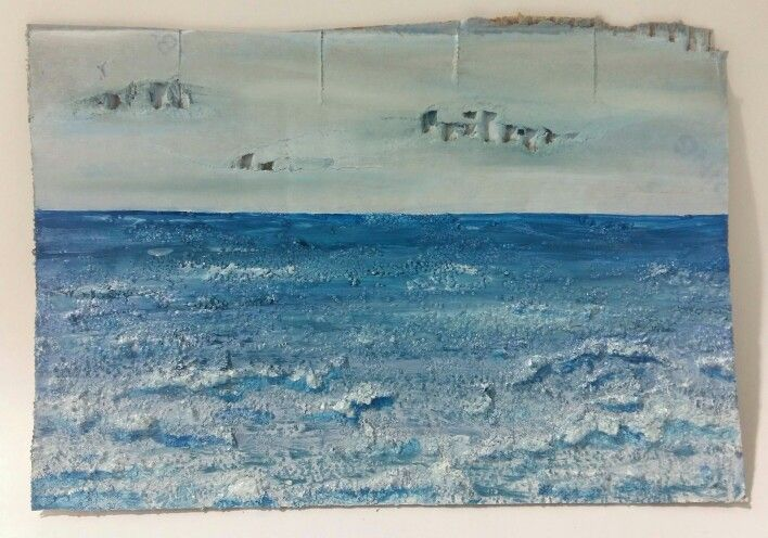 Small textured ocean painting on cardboard. Oil with glitter and acrylic base