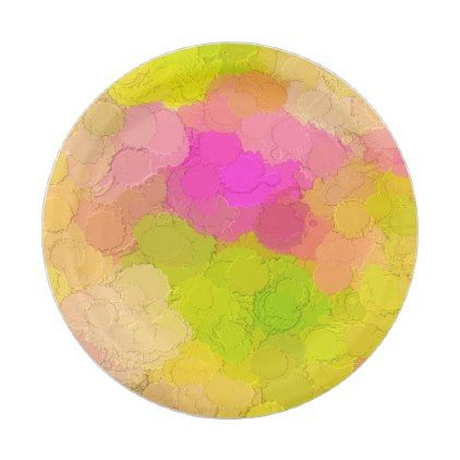 Florescent abstract paper plates - birthday gifts party celebration custom gift ideas diy
