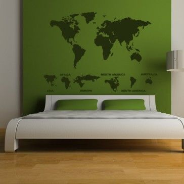 World Map with Continents Wall Stickers Wall Art Decal