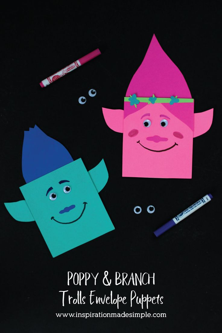 Poppy and Branch Trolls Envelope Puppets Kids Craft