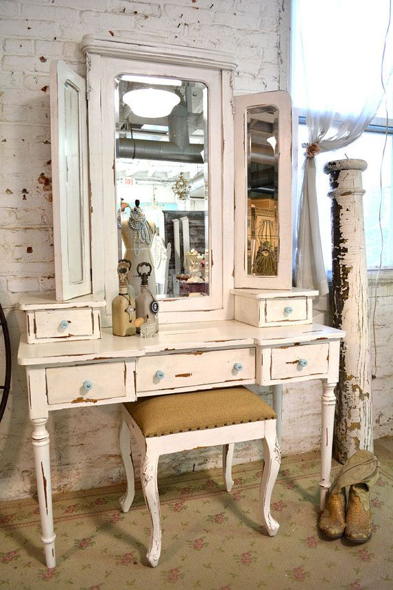 RESERVED Painted Cottage Chic Shabby Romantic Vanity and Stool VAN64 on Etsy, $1,095.00