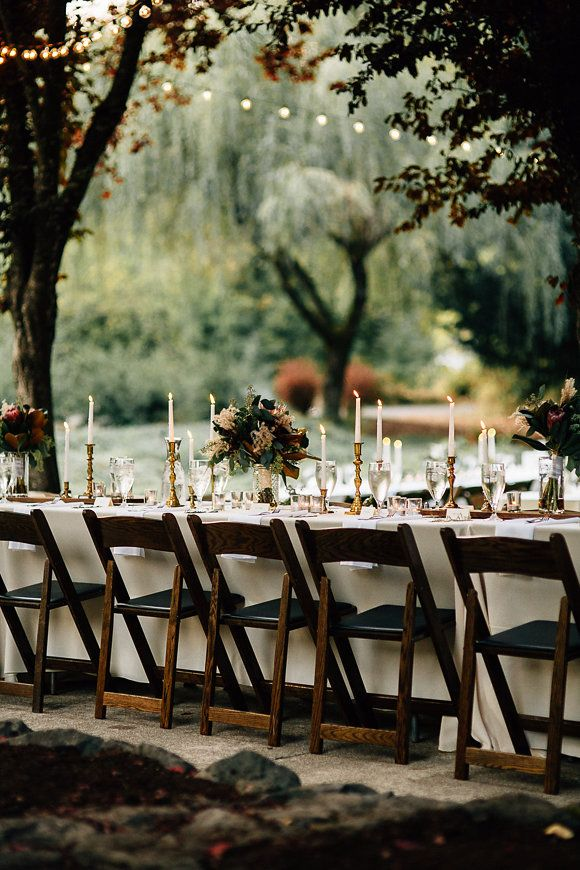 fall reception table idea for a backyard wedding